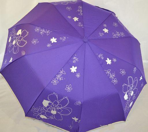 Женский зонт Полуавтомат 10 спиц антиветер карбон зонтик складной цвй