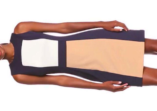 CALVIN KLEIN Oryginalna Sukienka Panel Shift Granatowa Biala Bezowa