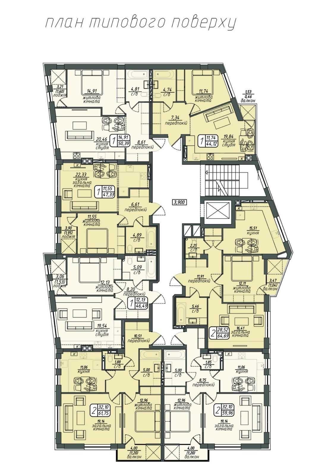 ПРОДАЖ 1 та 2 кімнатних квартир в новобудові в ЦЕНТРІ ВІННИЦІ.