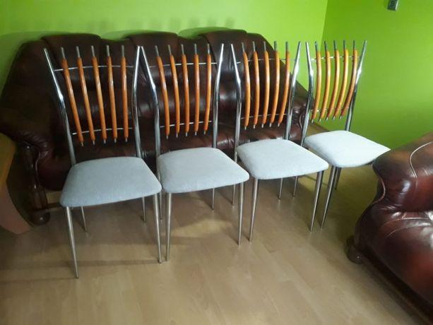 Krzesła do kuchni jadalni salonu chrom chromowe 4 sztuki