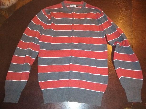 sweter w czerwono-szare pasy - rozmiar s