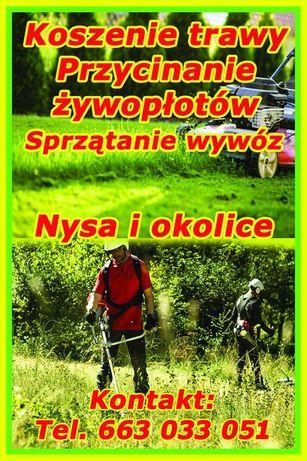 Koszenie trawy żywopłotów, różne prace ogrodowe, transport wywóz