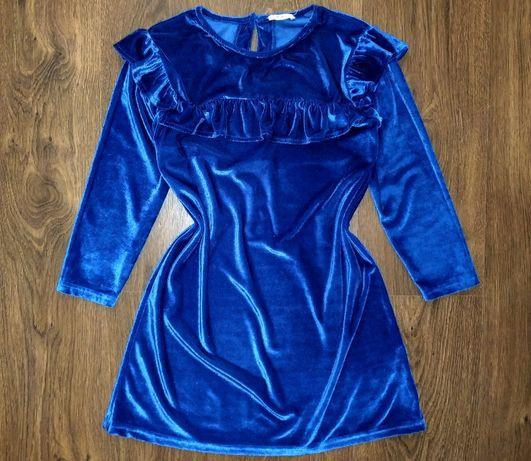 Синее бархатное велюровое нарядное платье с рюшами на 9 - 10 лет