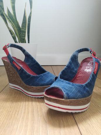 Jeansowe sandałki koturny Jezzy 36