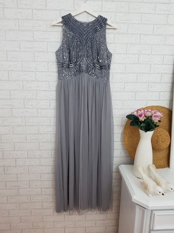 Szara długa maxi sukienka ozdobna góra roz 48 4XL Asos nowa