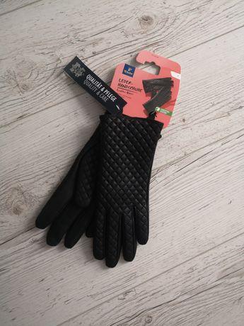 Damskie skórzane rękawiczki czarne Tchibo z metkami rozmiar 7