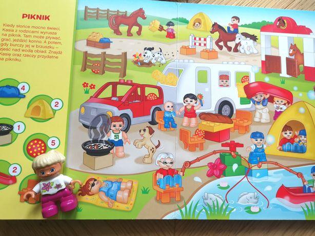 """2 książeczki Lego Duplo """"zabawy z Kasią""""/""""zabawy z Frankiem"""" + klocki"""