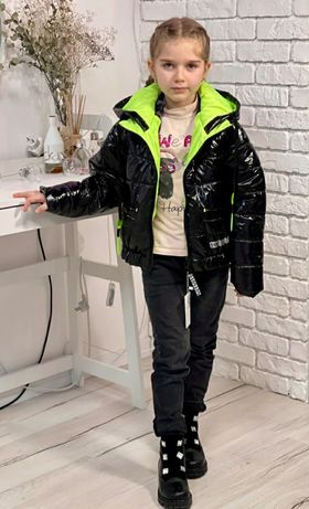 Новинка! Демисезонные лаковые куртки на девочку ТМ LeKris рост 122-140