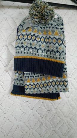 Шапка и шарф зима на флисе 4-6 лет