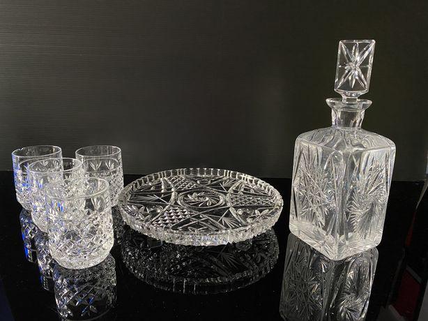 Kryształowa karafka, taca i szklanki do whisky