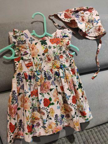 Sukienka letnia h&m 74 NOWA z kapeluszem