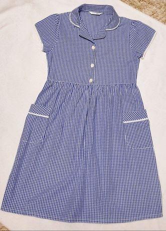 Klasyczna sukienka dziewczęca 122 w niebieską kratkę Marks & Spencer