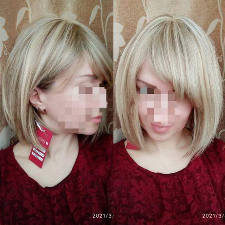 Натуральный парик с чёлкой славянские волосы блонд пепельный