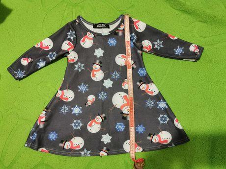 Платье Новый год Снеговики 1-2-3 года