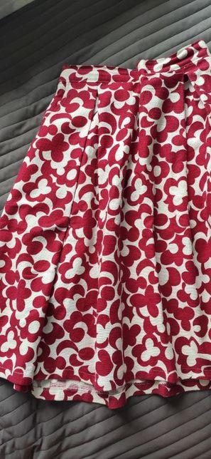 Spódnica rozkloszowana czerwono-biała