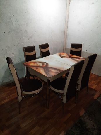 Столи стулья скло кухонні комплекти 3d