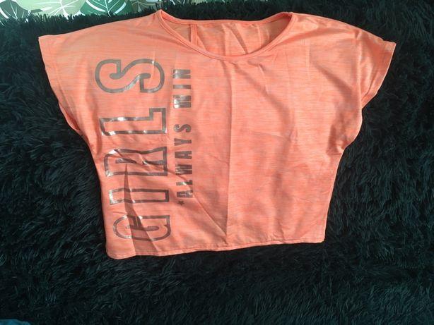 Neonowy T-shirt z srebnymi napisami