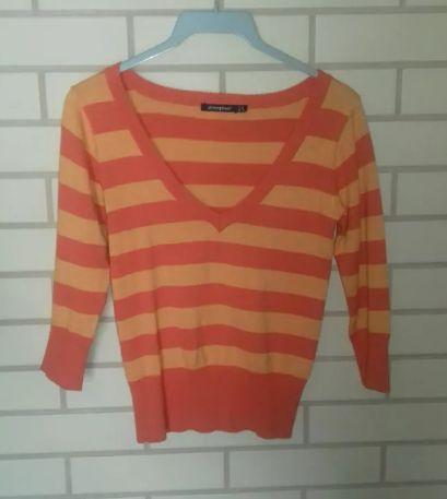 Pomarańczowy sweterek w paski 3/4 rozmiar 36-38 S Atmosphere Primark