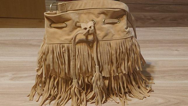 torebka zamsz z frędzlami