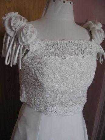 Biała suknia ślubna na wysoką r.40