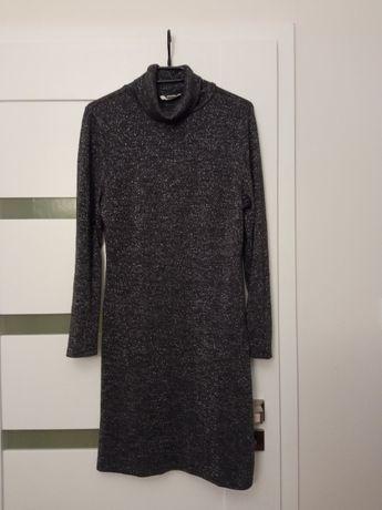 dzianinowa sukienka ze srebrna nitka H&M