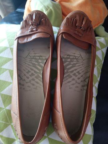 Śliczne RUDE buty r. 39 skóra naturalna UK 6