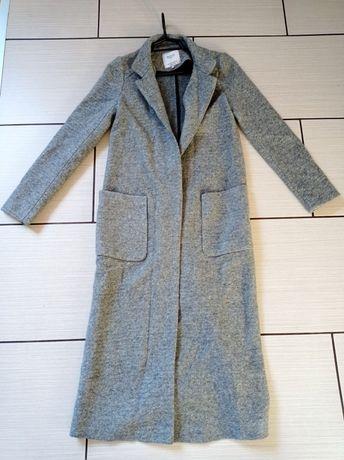 Wełniany długi płaszcz szary melanż Zara XS/S