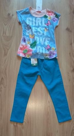 Bluzka z dłuższym tyłem i niebieskie spodnie dziewczęce 98 104