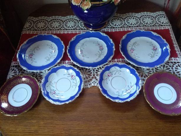 Schoenau Reichenbach Bavaria porcelana kobalt talerze