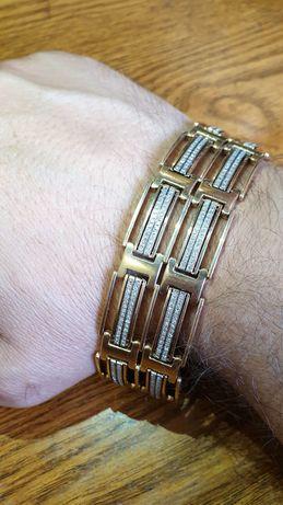 Золотой мужской браслет с бриллиантами