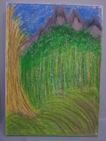 Obraz rysowany kredka olejna na plotnie Trzy Korony