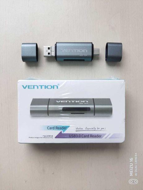 Продам USB 3.0/Type C/Micro USB картридер Vention для SD/TF-карт
