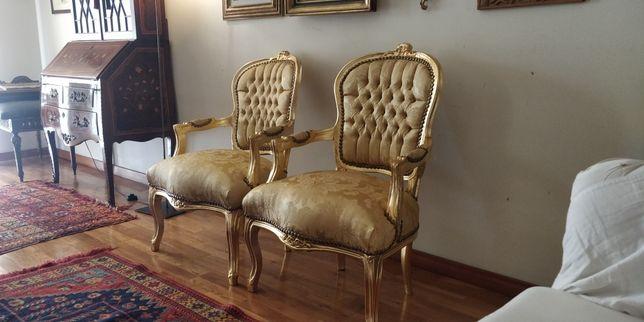 Cadeirões Luís XV (bèrgére burnida a ouro)