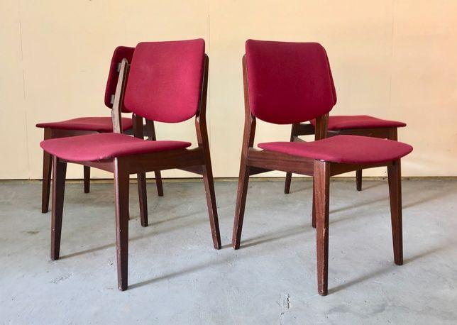 Komplet czterech krzeseł tekowych, DESIGN, danish, Niemcy, lata 70.