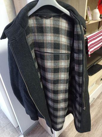 Драп пальто темный, 52-54 размер только смс