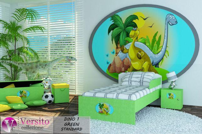 Łóżko dziecięce z materacem 10 cm,grafika dinozaura,dla dziecka,TANIO
