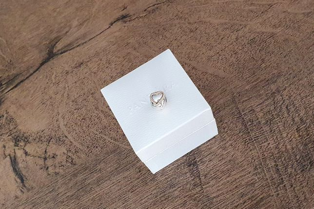 Pandora klips plecione serca tt (two tone - srebro ze złotem), 14k