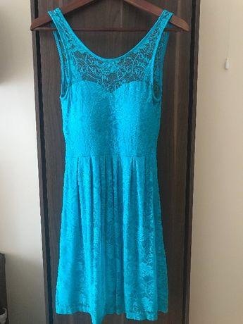 Sukienka na wesele koronkowa turkusowa NICETA