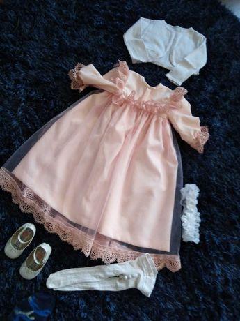 Sukieneczka do chrztu ubranko dla dziewczynki zestaw na 74