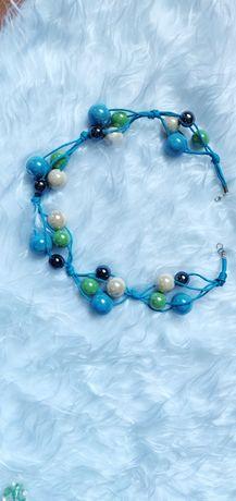 Niebieskie korale z ceramiki. Ręcznie robione.