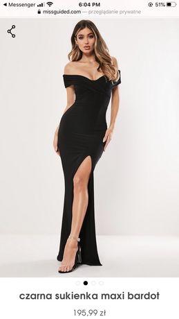 Czarna Sukienka Maxi Bardot Missguided