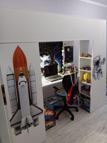 Łóżko piętrowe szafa biurko półki białe szare rakieta kosmos nasa