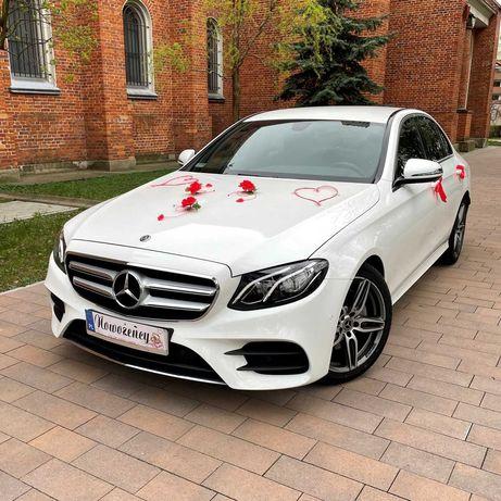 Biały Mercedes-Benz klasa E AMG Auto samochód do ślubu