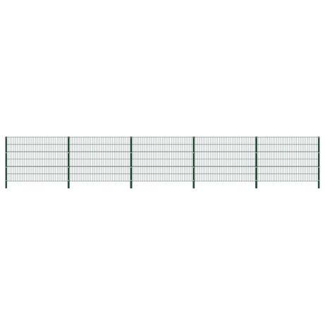 vidaXL Painel de vedação com postes ferro 8,5x1,2 m verde 278665