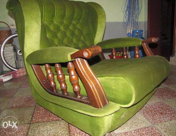 fotel welur zielony