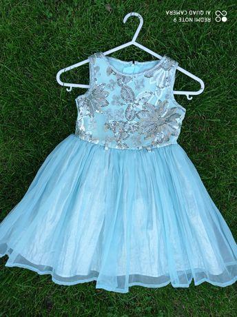 Piękna sukienka niebieska z cekinami nowa