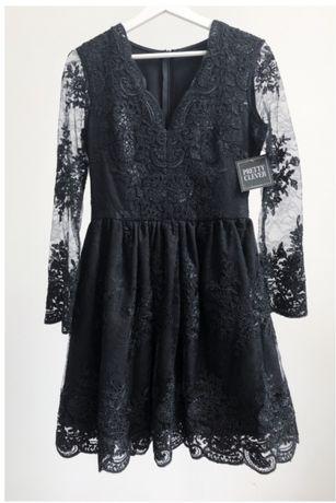 Sukienka rozkloszowana czarna koronka 38/M