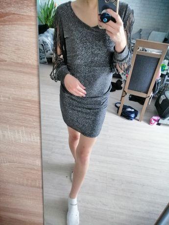 Brokatowa srebrna sukienka mini