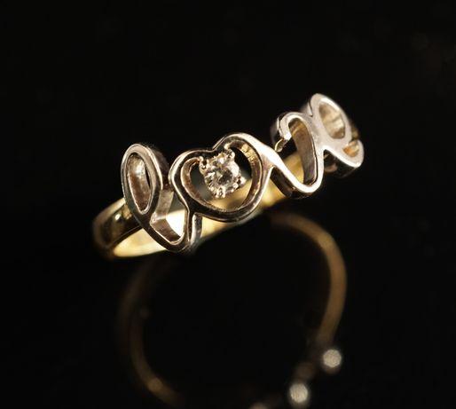 Złoto 585-Złoty pierścionek z napisem Love