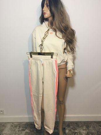 Damski bezowy dres bawelniany bluza spodnie XS Lampasy komplet neon
